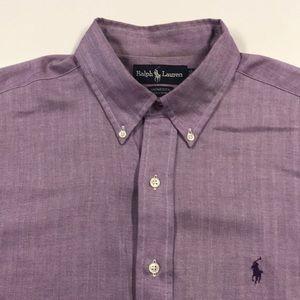 RALPH LAUREN POLO Mens Purple Oxford Dress Shirt